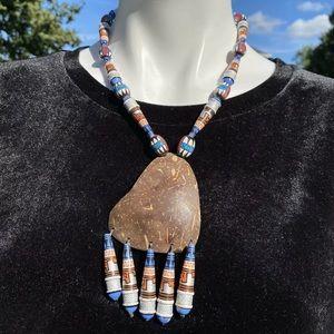 Artisan made Ceramic coconut shell necklace set